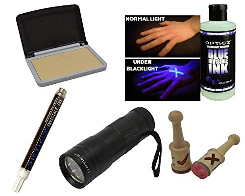 - Opticz UV Blacklight Reactive Invisible Blue Ink Hand Stamping Document Marking Variety Kit