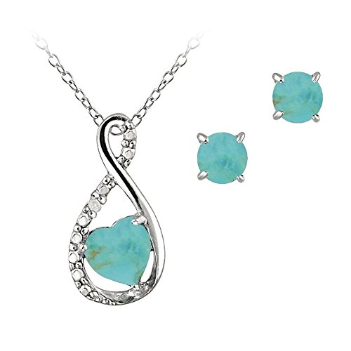Sterling Silver Simulated Turquoise & Simulated Diamond Swirl Heart Necklace Earrings Set