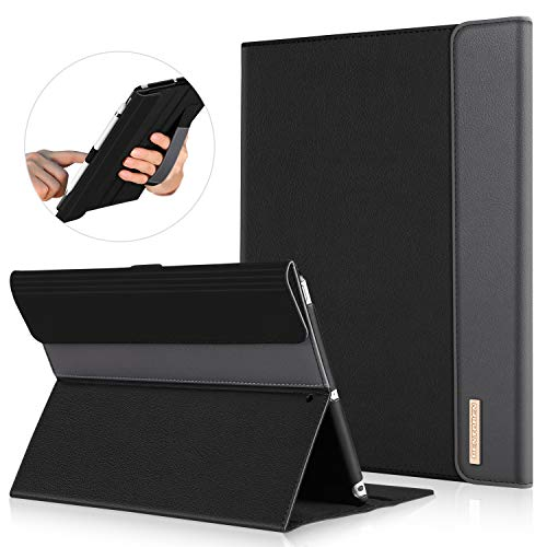 Case Protector Faux Leather (iPad 9.7 Case 2018/2017, BENTOBEN Luxury Faux Leather Slim Lightweight Protective Shockproof Cover with Folio Folding Stand Stylus Holder Auto Wake/Sleep for Apple iPad 5th/6th Generation - Black/Grey)