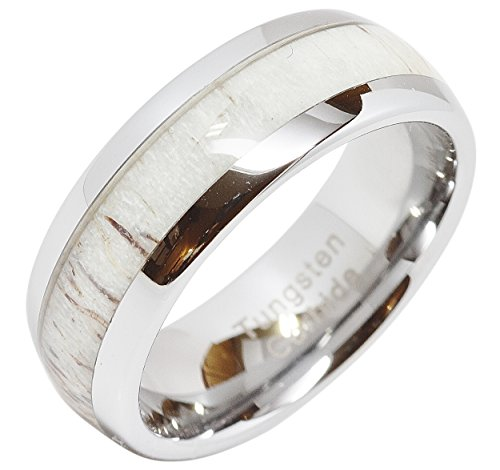 100S JEWELRY Tungsten Ring for Men Women Wedding Band Deer Antler Inlaid Dome Shape Size 6-16 (10)