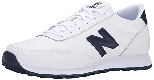 888546344532 - New Balance Men's NB501 Leather Collection Classic Running Shoe, White/Navy, 9 2E US carousel main 0