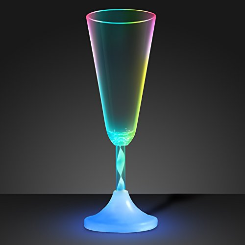 Romantic New Year Champagne - Light Up Champagne Glass with Color Changing LED Light & Long Spiral Stem (Set of 6)