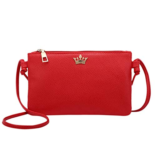 Shoulder Bags Crown Crossbody Leather Bags Messenger RED Women Coin Bag Fashion Solid Bafaretk wqYFSHwx
