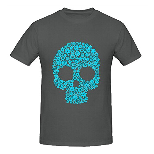Human Skull with Flowers T Shirts For Men Crew Neck Grey Music