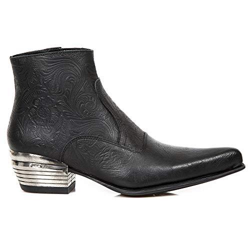 S1 Western Rock M New Leder Männer Cowboy Schwarz NW131 Absatz Elegant Stiefeletten Herren Stiefel qptd7