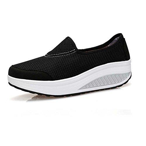 40 Transpirable EU Lona Zapatos Zapatos Sacudida Zapatos FangYOU1314 de de Malla Negro Negro Mujer de cuña Color de Embarazada Viaje de de tamaño q1RxnPRa