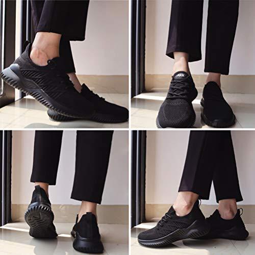 Akk Black Workout Sneakers for Women Memory Foam Shoes Slip On Walking Tennis Lightweight Gym Sports Sneakers Size 9
