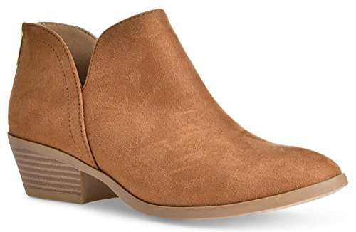 Women's Madeline Western Almond Round Toe Slip on Bootie - Low Stack Heel - Zip Up - Casual Ankle Boot Chamois Suede
