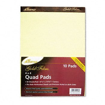 Ampad® Gold Fibre® Canary Quadrille Pads PAD,QUAD,4SQ,8.5X11CAN W55090 (Pack of20)