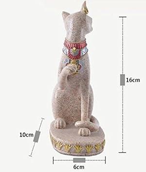Powzz ornament Ornamento De La Estatua del Gato Egipto Estilo Lindo Gato Estatuilla Esculturas De Arte De La Resina Decoración del Hogar Accesorios Adornos: ...