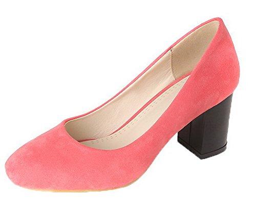 AllhqFashion Femme Carré à Talon Correct Couleur Unie Tire Chaussures Légeres Rose RxnrZ