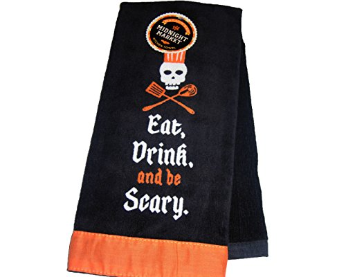 Midnight Market Eat Drink and be Scary Kitchen Towel-Black