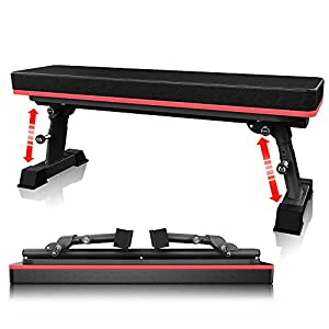 YouTen 2020 New Version Adjustable Bench for Body Workout Fitness, 5Positions Flat Bench, Abs Exercise Weight Bench with Steel Frame