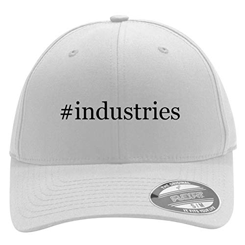 #Industries - Men's Hashtag Flexfit Baseball Cap Hat, White, Large/X-Large (Best Hashtags For Wedding Industry)