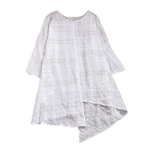 Clearance Sale ! Women Tops Vintage Loose Cotton Linen Three Quarter Sleeve Plaid Shirt Blouse Tops ❤️ ZYEE,S-3XL ()
