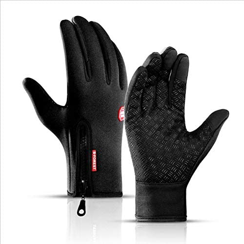 タッチスクリーンジッパーグローブ、男性と女性、ライニング、防風、防水、寒さと暖かい、屋外サイクリングとロッククライミング(M/L/XL)