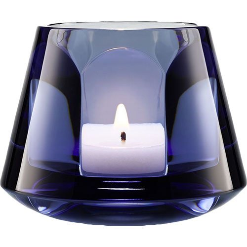 Baccarat Crystal Harcourt Baby Our Fire Candle Holder Blue
