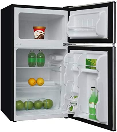 Frigidaire EFR341, 3.2 cu toes 2 Door Fridge and Freezer, Platinum Series, Stainless Steel, Double