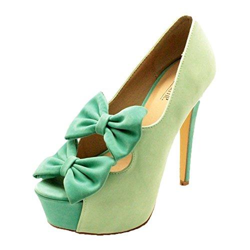Alto Señoras Verde Tacón Las De Zapatos Tribunal Plataforma Arco Doble Suedette nO1wxp8