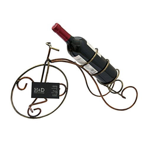 Hand Forged Wrought Iron Countertop Wine Holder Single Bottle Tabletop Handmade by Hide & Drink :: Bike