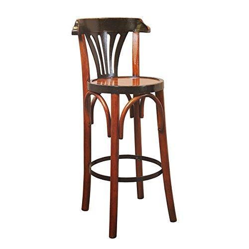 Grand Hotel Bar Stool De Luxe in Honey - Bar Stool with (Distressed Cherry Finish Wood)