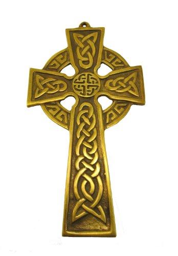 """Robert Emmet Co. Celtic Cross Wall Hanging Brass 3 ½"""" x 6 ½"""" Irish Décor - Celtic Wall Cross"""