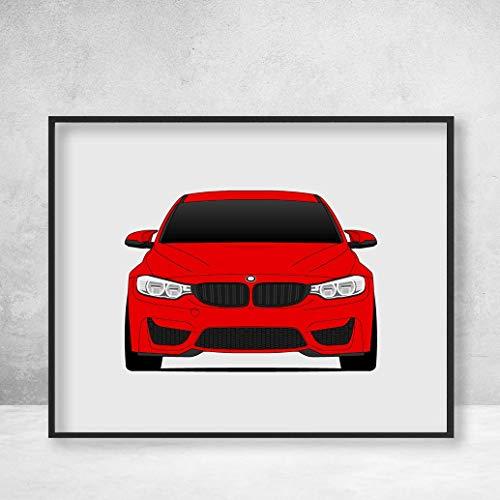 (BMW M4 F82 4 Series (2014-2018) Poster Print Wall Art Decor Handmade M Power BMW M)