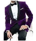 Jingmo Velvet Blazer Serge Pants Set 2 Piece Shawel Suits for Men Slim Fit
