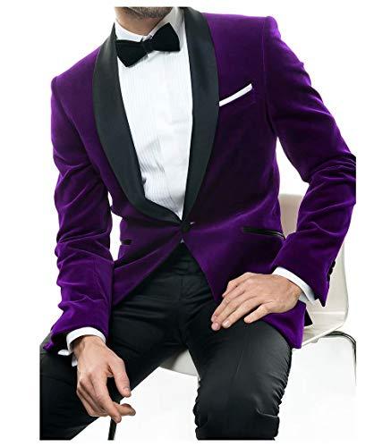 Jingmo Velvet Blazer Serge Pants Set 2 Piece Shawel Suits for Men Slim Fit by Jingmo