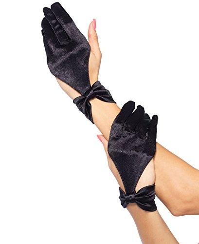 Leg Avenue 3737 Women's Satin Cut Out Glove With Bow Wrist Detail - Black - One Size