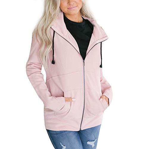 capucha y para y Color mujer larga con capucha Sudadera Invierno capucha cremallera con ZFFde Sudadera XXL Pink tamaño con manga wqvIfa