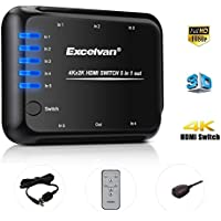 Excelvan 5x1 HDMI 5 Port Switch with IR Wireless Remote Control and AC Adapter Supports Ultra HD, 4K, 1080P, 3D