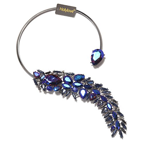 (Holylove Women Statement Necklace Blue, Costume Necklace for Women Novelty Fashion Jewelry 1 pc with Gift Box- HLN0008 Blue)