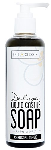 Bali Secrets Deluxe Liquid Castile Soap - Charcoal Magic - All Natural Ingredients - Vegan - Made with Premium Oils - Biodegradable - For Body & Face - Handcrafted in (Deluxe Liquid Soap)