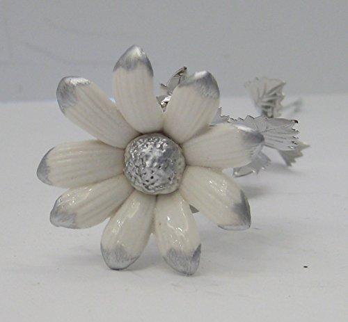 Long Stem Porcelain - ITALIAN SILVER & PORCELAIN WHITE SILVER TIP LONG STEM DAISY