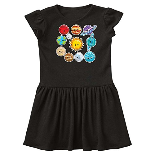 inktastic - Happy Sun Moon and Planets Toddler Dress 2T Black 29be3