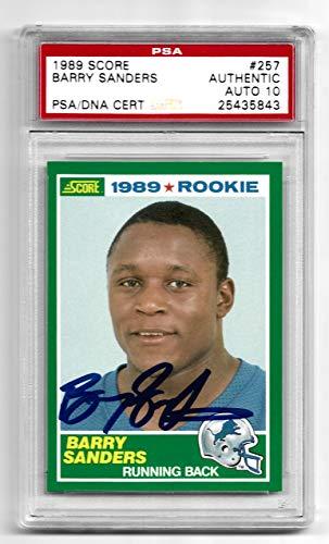 BARRY SANDERS Signed 1989 Score ROOKIE Card #257 Autograph Graded 10 Auto PSA/DNA Detroit Lions ()