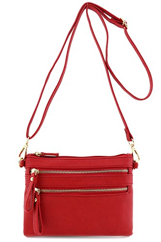 Multi Zipper Pocket Small Wristlet Crossbody Bag Red