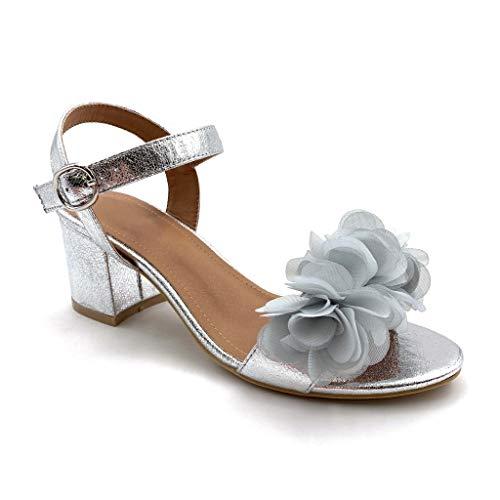 Ouverte Basique Fleurs Sandale Soirée Bloc Argent Simple Cm Talon Mode Femme Escarpin Haut Angkorly Confortable Chaussure 7 wqWBTcCxgI