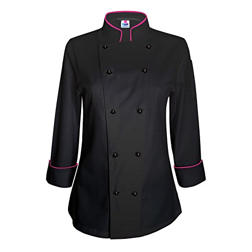 Long Sleeve Chef Jacket - 10oz apparel Long Sleeve Womens Black Chef Jacket with Hot Pink Piping XL