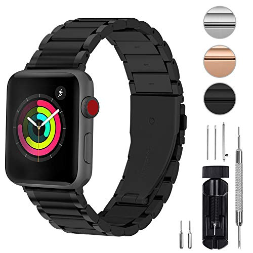 Fullmosa Compatible for Apple Watch Band iWatch Series 5/4/3/2/1, 3 Colors LUS Watch Band for Apple Watch 38mm 42mm 40mm 44mm,38mm Black