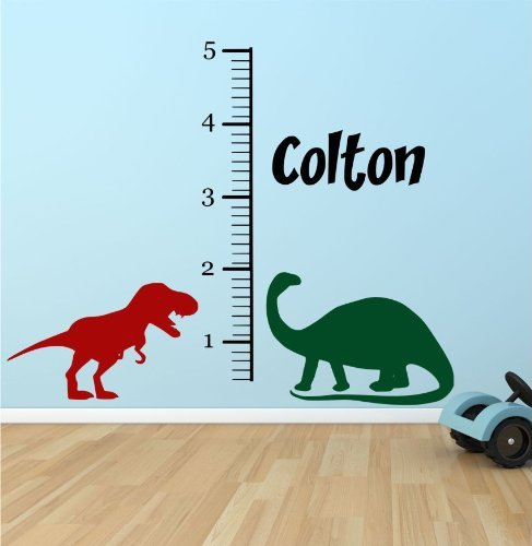 Athena Bacon Personalized Children's Growth Charts for Boys - Dinosaur Growth Chart Wall Decal - Dino Nursery Growth Charts Boys- Gifts for Kids (Personalized Dinosaur Chart Growth)