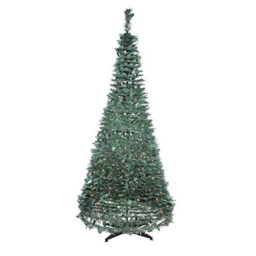 Christmas Tree Decoration Classic Green Holly Leaf Pop-Up Artificial Pine Family Xmas Tree Elegant Decor Clear Lights Xmas Tree Durable Metal Stand 6'