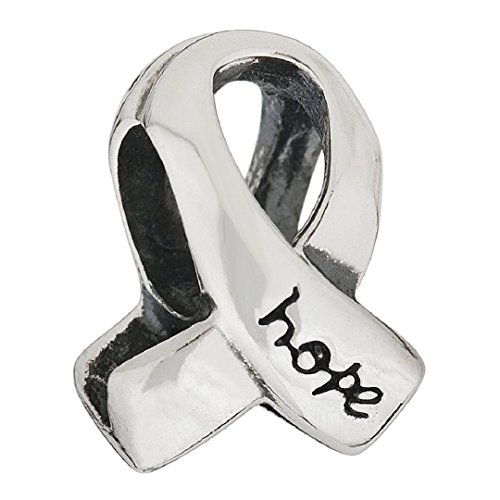925 Sterling Silver Breast Cancer Awareness Ribbon Hope Symbols Bead Fits European Charms (Horse Pugster)