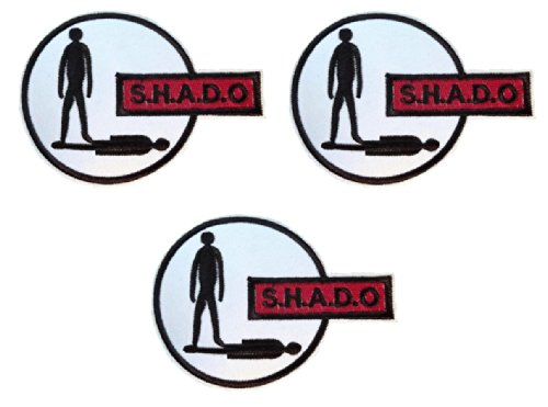 """UFO SHADO Gerry Anderson TV Series Logo 4"""" Wide SET OF 3 Embroidered PATCHES"""