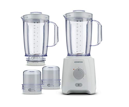 Kenwood Blender 2.0 L Jar 650 Watts with 2 Mill and 1 Extra Jar, White, BLP406WH