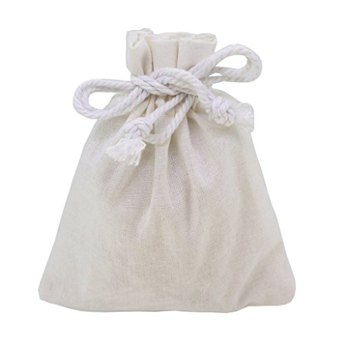 White Cotton Calico Pouch with Drawstring for Gift Packaging, 10x12cm, Pack of (Brown Calico Fabric)