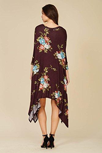 Annabelle Tunic 3 Batwing Women Swing Floral Dresses Comfy Dolman s Mauve 4 Print Sleeve qZRrqw