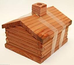 medium Log Cabin Incense Burner comes with 10 balsam fir logs