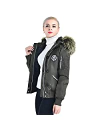 COUTUDI Women Winter Coats Army Green Flight Jacket Hood Parkas with Fax Fur